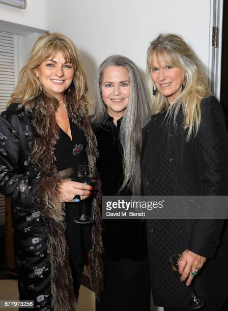Carole Ashby Koo Stark and Guest attend a private view of Koo Stark's exhibition 'Kintsugi Portraits' at Galleria San Lorenzo on November 23 2017 in...
