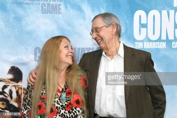 """Carole Baskin and Howard Baskin attend the Los Angeles theatrical premiere of """"The Conservation Game"""" on August 28, 2021 in Santa Monica, California."""