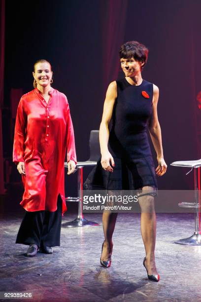 Carole Bouquet and Anne Le Nen attend 'Les Monologues du Vagin' during 'Paroles Citoyennes 10 shows to wonder about the society' at Bobino on March 8...