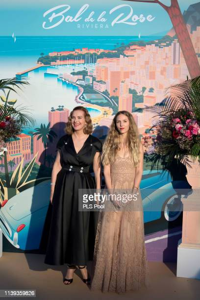 Carole Bouquet and Charlotte Giacobetti attend the Rose Ball 2019 to benefit the Princess Grace Foundation on March 30 2019 in Monaco Monaco