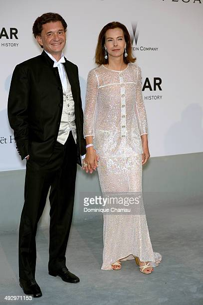 Carole Bouquet and Philippe Sereys de Rothschild attend amfAR's 21st Cinema Against AIDS Gala Presented By WORLDVIEW, BOLD FILMS, And BVLGARI at...