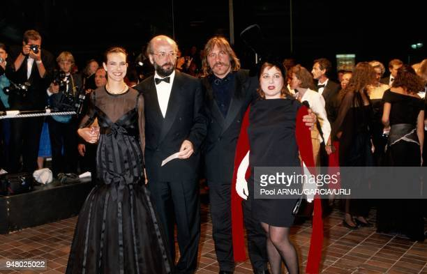 Carole Bouquet Bertrand Blier Gerard Depardieu and Josiane Balask arrive for the screening of the movie 'Trop belle pour toi'