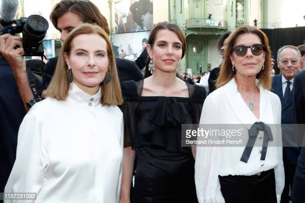 "Carole Bouquet, Charlotte Casiraghi-Rassam and Caroline de Hanovre attend ""Karl for Ever"" Tribute to Karl Lagerfeld at Grand Palais on June 20, 2019..."