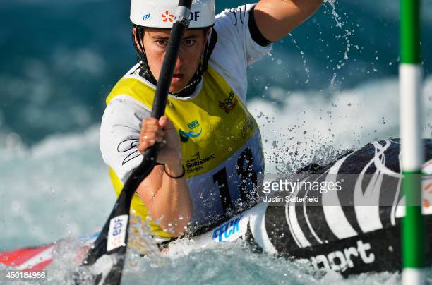 Carole Bouzidi of France in action in the Women's Kayak at Lee Valley White Water Centre on June 6 2014 in London England