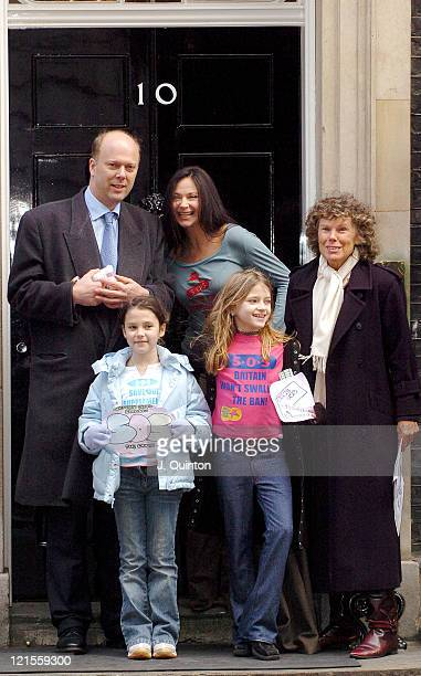 Carole Caplin with young protestors and Tory MP Chris Grayling deliver a protest letter to Tony Blair over a European Union directive intending to...