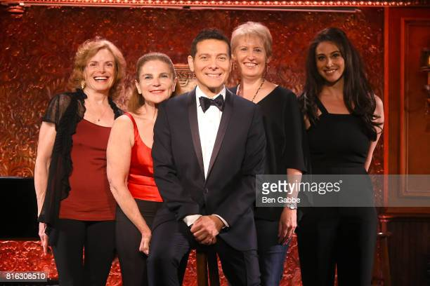 Carole Demas, Tovah Feldshuh, Singer Michael Feinstein, Liz Callaway and Lesli Margherita attend Feinstein's/54 Below Press Preview at 54 Below on...