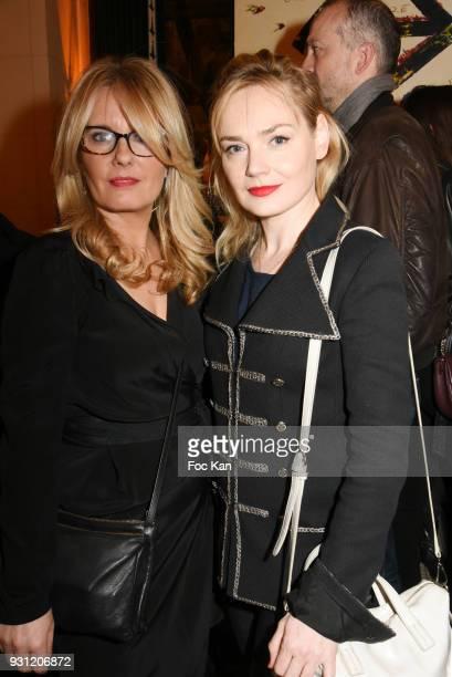 Carole Fernandez PR of Les Deux Magots and Julie Judd attend Marc Cerrone Exhibition Preview at Deux Magots a on March 12 2018 in Paris France