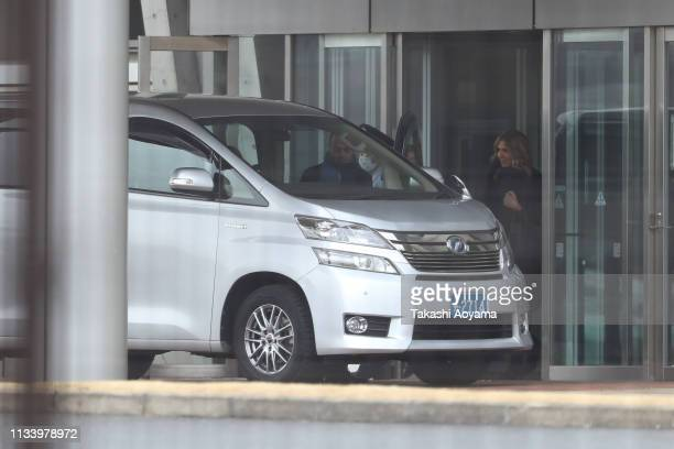 Carole Ghosn wife of Carlos Ghosn leaves the Tokyo Detention House on March 06 2019 in Tokyo Japan Carlos Ghosn was released from the Tokyo Detention...