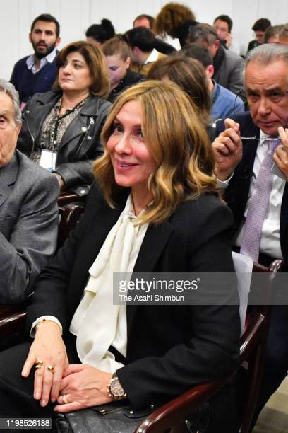 Carole Ghosn wife of former chairman of Nissan and Mitsubishi Motors Carlos Ghosn is seen during a press conference on January 8 2020 in Beirut...