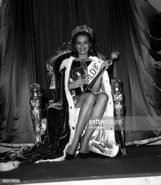 Carole Joan Crawford 20 year old Miss Jamaica after she won the 1963 Miss World title at the final held at the Lyceum Ballroom Strand London It was a...