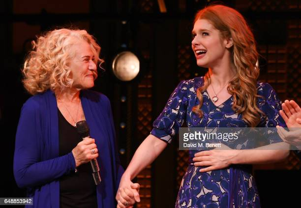 Carole King and Cassidy Janson pose onstage after Carole King surprised the West End cast of 'Beautiful The Carole King Musical' at the Aldwych...