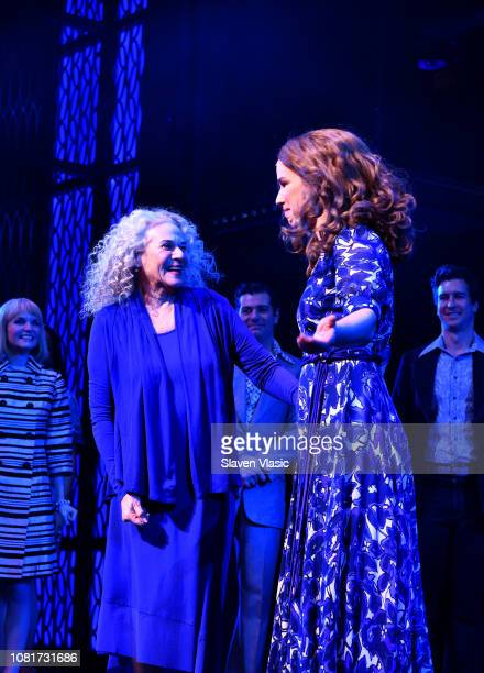 Carole King and Chilina Kennedy greet each other on stage as Carole King surprises Broadway audience as Beautiful celebrates Fifth Anniversary at...