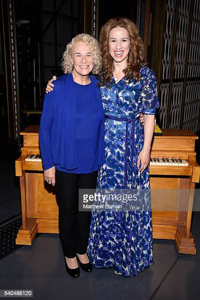 Carole King and Chilina Kennedy pose together for a photo after the curtain call of the 1000th performance of 'Beautiful The Carole King Musical' at...