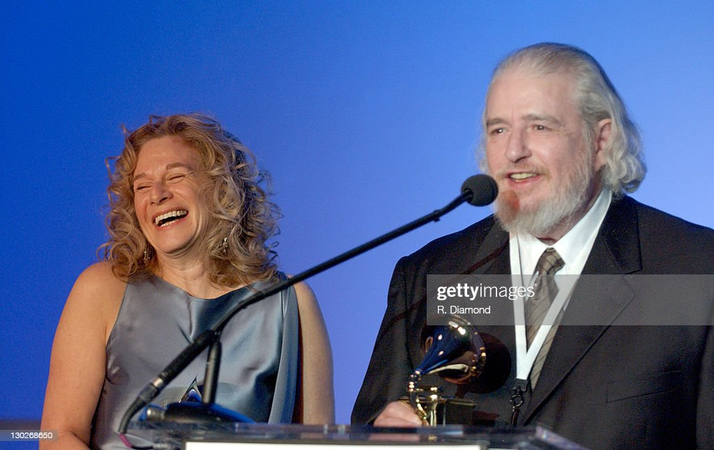 Carole King and Gerry Goffin during The 46th Annual GRAMMY Awards - Nominee Reception and Special Awards Ceremony at California Science Center in Los Angeles, California, United States.