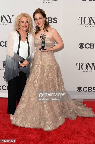 Carole King and Jessie Mueller winner of the award for Best Performance by an Actress in a Leading Role in a Musical for Beautiful pose in a press...