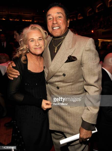 Carole King and Smokey Robinson attend the 27th Annual Rock And Roll Hall Of Fame Induction Ceremony at Public Hall on April 14, 2012 in Cleveland,...