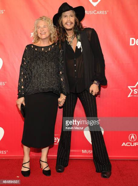 Carole King and Steven Tyler attend 2014 MusiCares Person Of The Year Honoring Carole King at Los Angeles Convention Center on January 24, 2014 in...