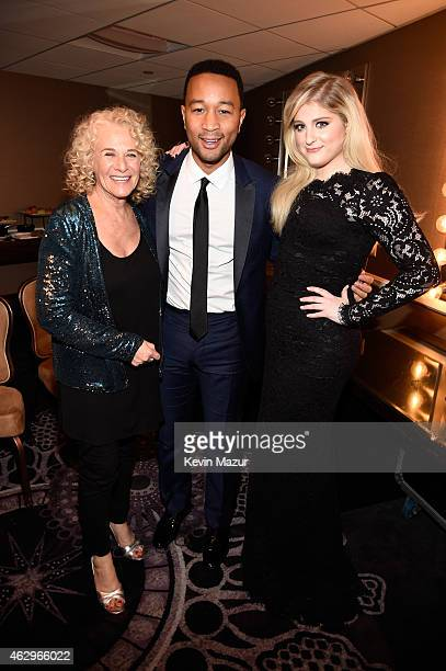 Carole King John Legend and Meghan Trainor attend the PreGRAMMY Gala And Salute To Industry Icons Honoring Martin Bandier at The Beverly Hilton on...