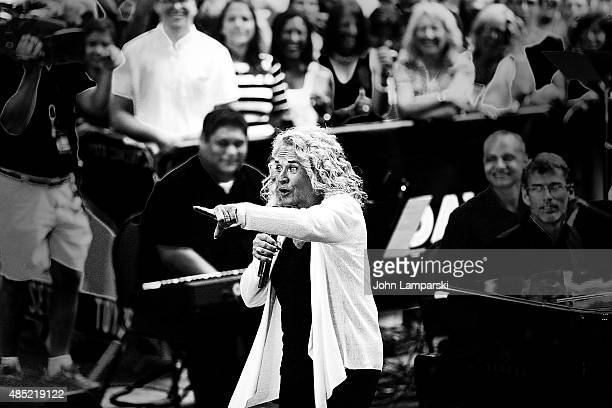 image has been converted to black and white Carole King performs on NBC's 'Today' at Rockefeller Plaza on August 25 2015 in New York City