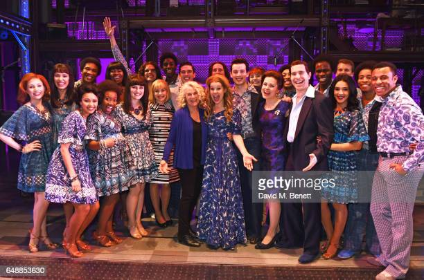 Carole King poses with cast members including Ian McIntosh Lorna Want Cassidy Janson Matthew SeadonYoung Barbara Drennan and Joseph Prouse onstage as...