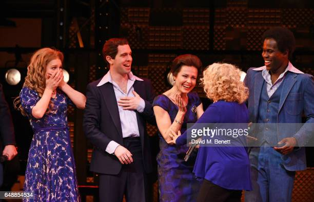 Carole King surprises cast members Cassidy Janson Joseph Prouse and Barbara Drennan onstage at the West End cast of 'Beautiful The Carole King...