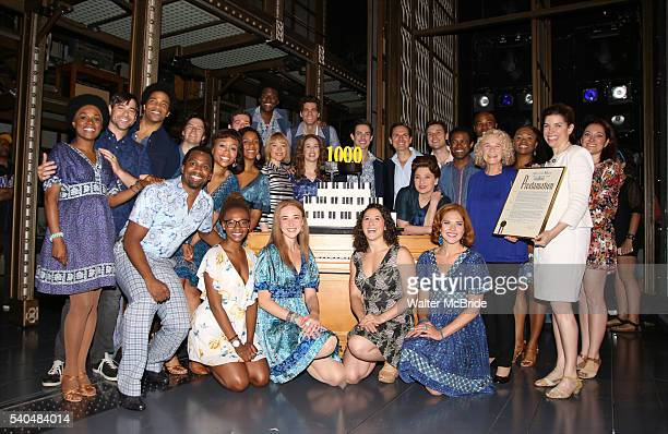 Carole King with cast members and company celebrate the 1000th performance of 'Beautiful The Carole King Musical' at Stephen Sondheim Theatre on June...