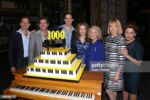 Carole King with cast members celebrate the 1000th performance of 'Beautiful The Carole King Musical' at Stephen Sondheim Theatre on June 15 2016 in...
