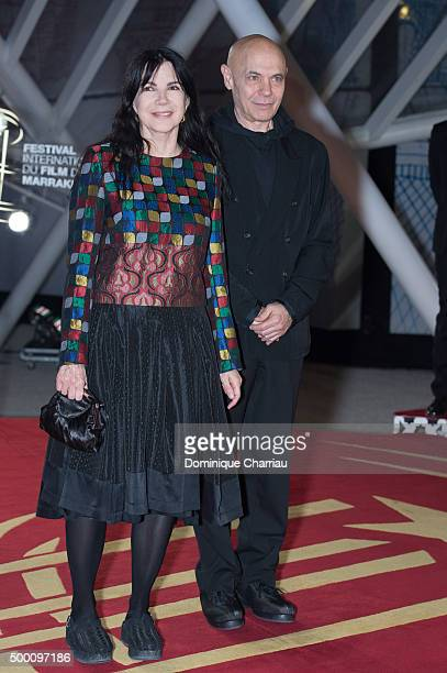 Carole Laure and Lewis Furey attends the ' MR Holmes' premiere during the15th Marrakech International Film Festival on December 5 2015 in Marrakech...