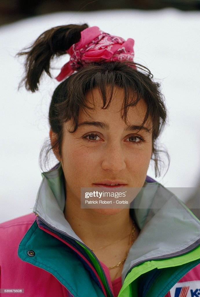 Carole Merle is a member of the French downhill ski team.