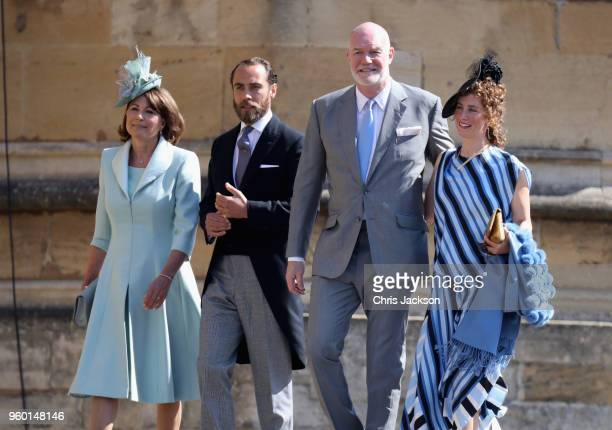 Carole Middleton and James Middleton and guests arrive at the wedding of Prince Harry to Ms Meghan Markle at St George's Chapel Windsor Castle on May...