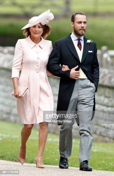 Carole Middleton and James Middleton attend the wedding of Pippa Middleton and James Matthews at St Mark's Church on May 20 2017 in Englefield Green...