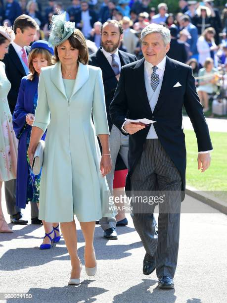 Carole Middleton and Michael Middleton arrive at St George's Chapel at Windsor Castle before the wedding of Prince Harry to Meghan Markle on May 19...