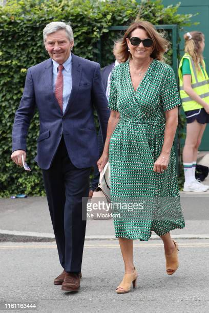 Carole Middleton and Michael Middleton attend day 9 of the Wimbledon 2019 Tennis Championships at All England Lawn Tennis and Croquet Club on July 10...