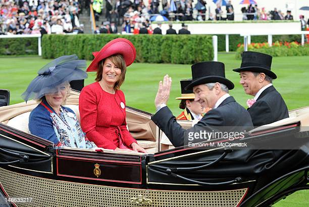 Carole Middleton and Michael Middleton attend Ladies Day at Royal Ascot at Ascot Racecourse on June 21 2012 in Ascot England