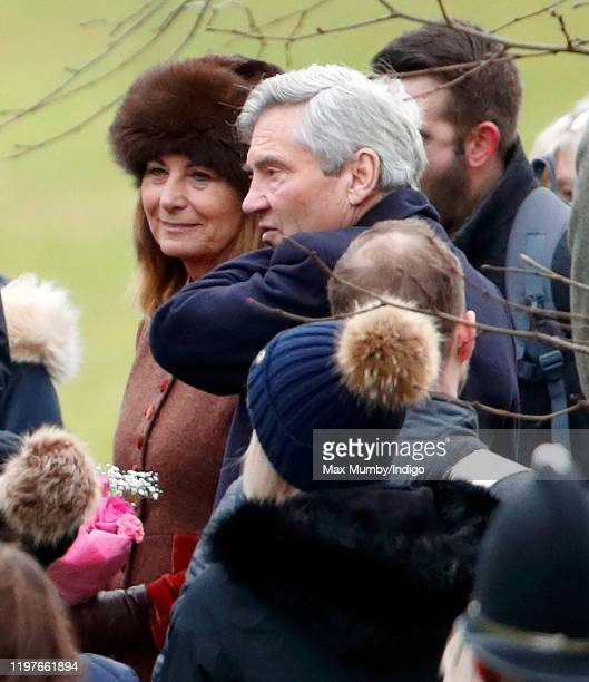 Carole Middleton and Michael Middleton attend Sunday service at the Church of St Mary Magdalene on the Sandringham estate on January 5, 2020 in...