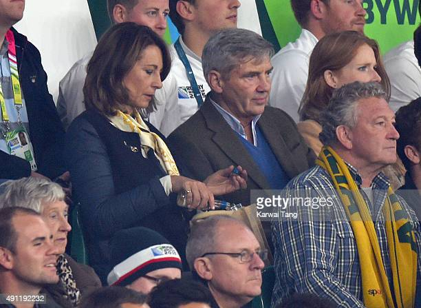 Carole Middleton and Michael Middleton attend the England v Australia match during the Rugby World Cup 2015 on October 3 2015 at Twickenham Stadium...