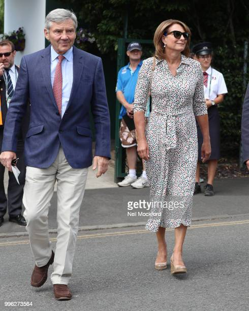 Carole Middleton and Michael Middleton seen arriving on day nine of the Wimbledon Lawn Tennis Championships at All England Lawn Tennis and Croquet...
