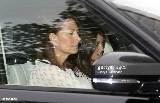 Carole Middleton and Pippa Middleton arrive at Kensington Palace the day after the birth of The Duke And Duchess Of Cambridge's daughter at...