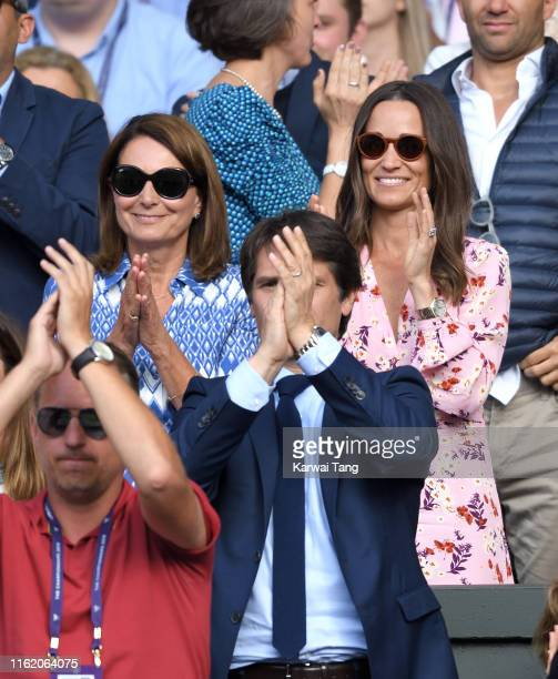 Carole Middleton and Pippa Middleton attend day thirteen of the Wimbledon Tennis Championships at All England Lawn Tennis and Croquet Club on July...