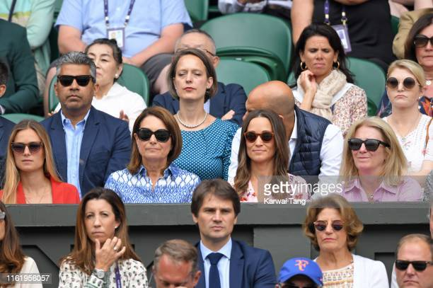 Carole Middleton and Pippa Middleton attend Men's Finals Day of the Wimbledon Tennis Championships at All England Lawn Tennis and Croquet Club on...