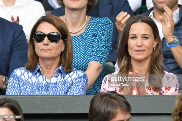 Carole Middleton and Pippa Middleton on Centre Court during Men's Finals Day of the Wimbledon Tennis Championships at All England Lawn Tennis and...