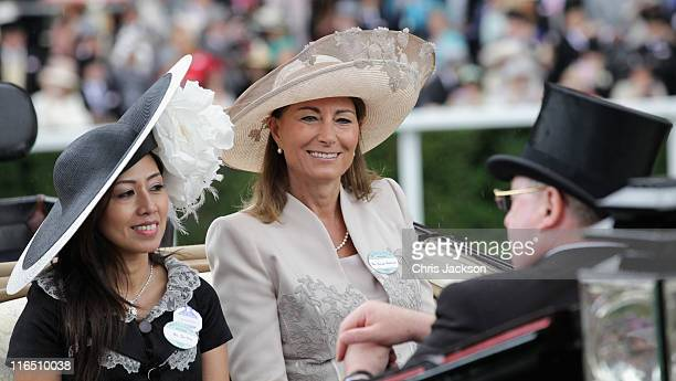 Carole Middleton arrives as part of the royal carriage procession on day three of Royal Ascot at Ascot Racecourse on June 14 2011 in Ascot United...