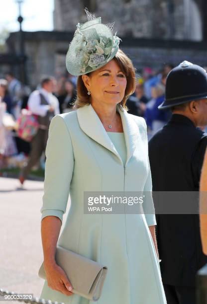 Carole Middleton arrives at St George's Chapel at Windsor Castle before the wedding of Prince Harry to Meghan Markle on May 19 2018 in Windsor England