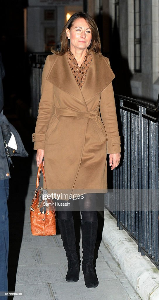 Carole Middleton arrives at the King Edward VII Hospital to visit her daughter Catherine, Duchess of Cambridge who is being treated for acute morning sickness on December 05, 2012 in London, England.