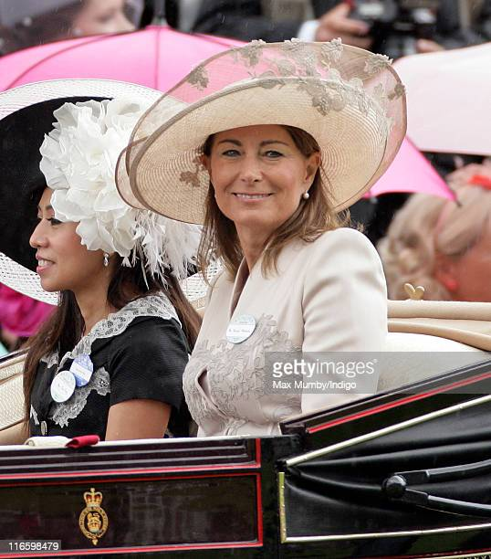 Carole Middleton arrives in the Royal carriage procession as she attends day 3 Ladies Day of Royal Ascot at Ascot Racecourse on June 16 2011 in Ascot...