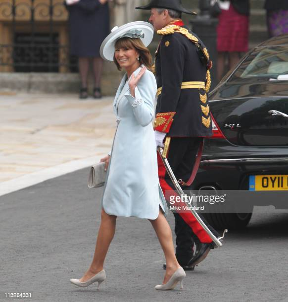 Carole Middleton arrives to attend the Royal Wedding of Prince William to Catherine Middleton at Westminster Abbey on April 29 2011 in London England...