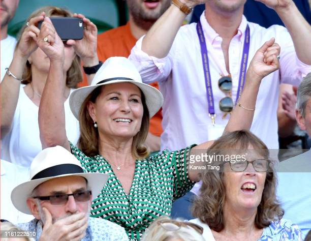 Carole Middleton attends day nine of the Wimbledon Tennis Championships at All England Lawn Tennis and Croquet Club on July 10, 2019 in London,...