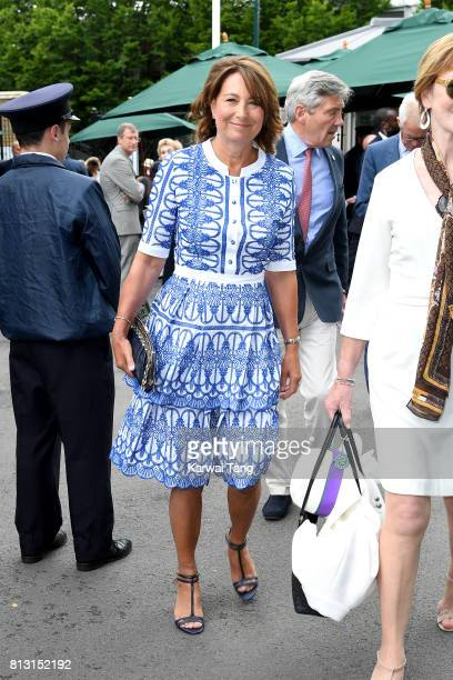 Carole Middleton attends day nine of the Wimbledon Tennis Championships at the All England Lawn Tennis and Croquet Club on July 12 2017 in London...