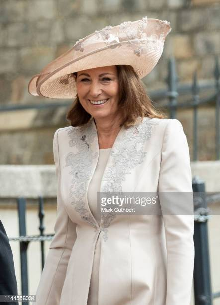 Carole Middleton attends the wedding of Lady Gabriella Windsor and Mr Thomas Kingston at St George's Chapel, Windsor Castle on May 18, 2019 in...