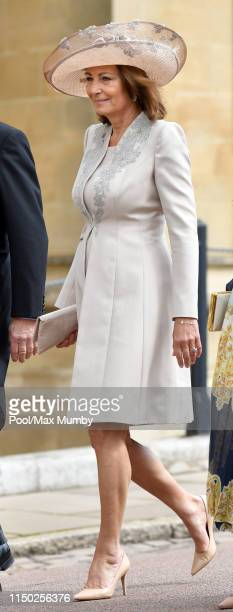 Carole Middleton attends the wedding of Lady Gabriella Windsor and Thomas Kingston at St George's Chapel on May 18 2019 in Windsor England
